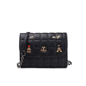 Wholesale Hot sale black quilted handbag graceful designer diamond lattice fashion chain bag artwork shoulder bag women