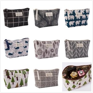 Wholesale Hot Printed Canvas Change Coin Purse Holder Zip Mini Wallet Colorful Makeup bags Portable Purse Key Wallet