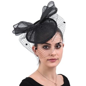 Wholesale Creative Bow knot Mesh Bride Face Veil British Fashion Banquet Party Flax Mesh Headdress Ladies Handmade Hair Accessories