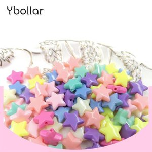 Wholesale 50pcs pack Charms Beads Candy Color Acrylic Star Shape Loose Spacer Beads For Children Necklace Bracelet Jewelry Making