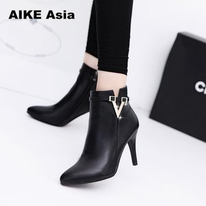 Wholesale 2018 Spring Autumn Stiletto Thin High Heels Pointed Toe Faux Leather Zipper Style Sexy Ankle Womens Boots Bota Feminina