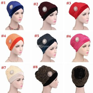 Wholesale retail colors woman Muslim scarf hat with pears women Wrapped head cap adult turban woman diamond Velvet gauze turban