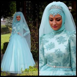 Retro Blue Muslim Evening Dress High Neck Long Sleeves Appliques A Line Prom Party Gowns With Beaded Sash Zipper Back Special Occasion Dress on Sale