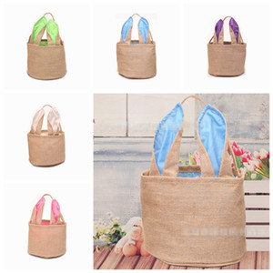 Blank Easter Baskets Monogrammed Easter Bunny Buckets Bunny Ears Bucket Personalized Gift Bag Egg Organizer 5 Colors Free Shipping YW1921