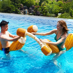Wholesale 4 pcs Inflatable Swimming Ring Battle Logs Wood Grain Floating Row Water Entertainment Toy Play Game Sports Equipment Party Water Pool Toys