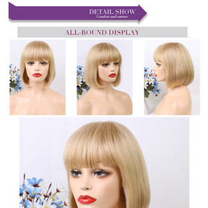 Wholesale Hair Care Wig Stands Women s Fashion Wig Gold Medium Shoulder Straight Length Bobo Wigs With Bangs Hair Inch Cosplay Feb13