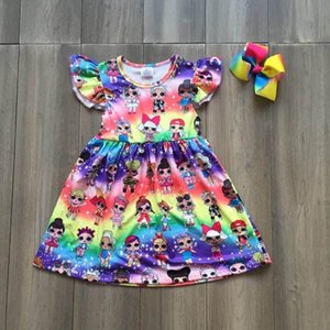 Wholesale Baby Girls Summer Hot New Arrival Garden Dress Clothing Girls Flora Rainbow Milk Silk Dress Q190522