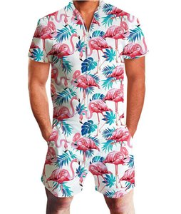 men's summer short-sleeved jumpsuit Hawaii casual jumpsuit male fruit printed beach Beach Street clothes on Sale