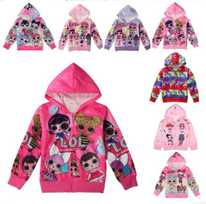 Wholesale Ins Surprise Girls Zipper Coat Spring Autumn Cute Cartoon Hoodies Jacket Kids Sweatshirts Children Long Sleeve Hooded Top Coats T A3126