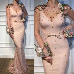 Shinning Mermaid Prom Dresses With Sash Illusion Jewel Sheer Long Sleeves Evening Gowns Beads Handmade Flowers 2019 Women Dress Evening Wear on Sale