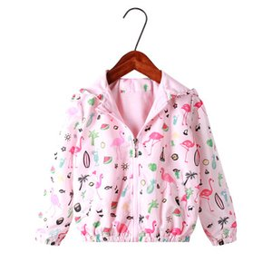 Wholesale New cartoon flamingo print hooded Jackets Springbaby coat children cartoon Windbreaker outwear coat infant toddler clothing kids clothes