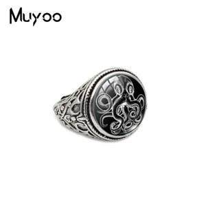 Wholesale New Arrival Cthulhu Symbol Jewelry Glass Cabochon Vintage Rings Hand Craft Jewelry Steampunk Terror Octopus Antique Alloy Rings