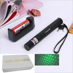 Wholesale Laser pointer DC3 V outdoor flashlight with rechargable battery charger and retail box nm green laser star pointer Free Ship