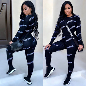 Wholesale Women Spring B Suits Letters Designer Clothing 2pcs Sets Tops Pants Suits Sports Clothing Set