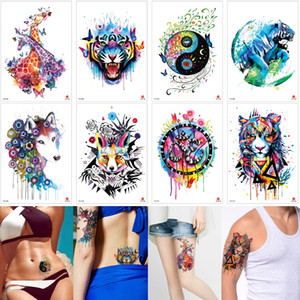 Wholesale tiger paintings resale online - Fake Colored Animal Tattoo Body Sticker Sexy Tiger Wolf Giraffe Leopard Designs Waterproof Temporary Tattoo Water Transfer Paper Paint Party
