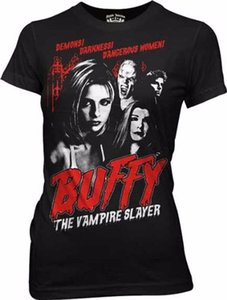 Wholesale Tee Shirt Printing Buffy The Vampire Slayer Cult Poster Black Juniors Women T shirt Tee Short Sleeve Top O Neck T Shirt For Men