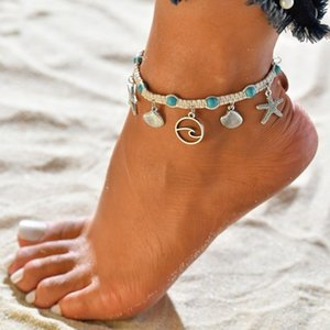 Bohemian Starfish Stone Anklets Set For Women Vintage Handmade Wave Anklet Bracelet on Leg Beach Ocean Jewelry BB173 on Sale