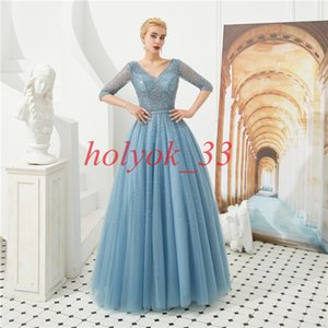 Wholesale Luxury Evening Dress 2019 V Neck Half Sleeve Ball Gown Evening Gown No Train Sequin Beaded Prom Dress Long Vestido de Festa