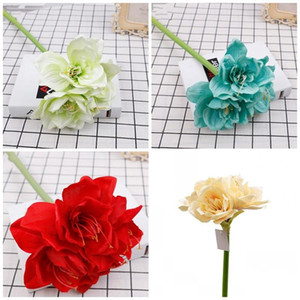 Wholesale Lily Artificial Flower Clivia Cloth Plastic Cement Simulation Flowers Wedding Decorate Blue Red Factory Direct Sales