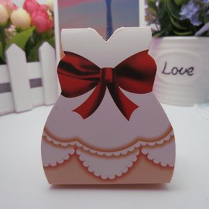 Wholesale Pink Bridal Gift Boxes Groom Tuxedo Dress Candy Boxes Paper Packaging Gift Bags with Ribbon Wedding Favors