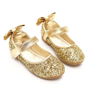 Fashion Spring Summer kids shoes sequin leather Girls dancing shoes with bow princess Kids Designer Shoes on Sale