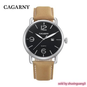 Cagarny Role Quartz Watch Men Fashion Mens Watches Genuine Leather Watch Band Date Sport Military Reloj Hombre