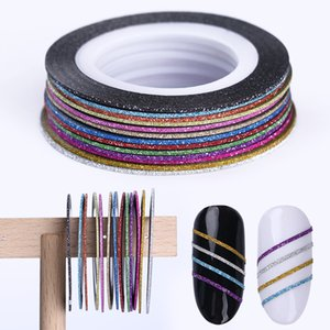 Wholesale adhensive tape resale online - 13 Rolls Rose Gold Matte Glitter Nail Striping Tape Line mm mm mm Adhensive Stickers Holographics DIY Styling Tips Tool pc