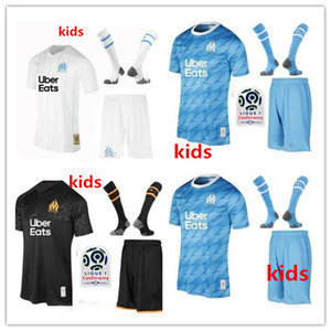 Wholesale kids Olympique de Marseille soccer jersey kids kit with socks OM Marseille BENEDETTO PAYET thauvin L gustavo football shirts