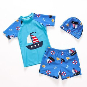 Wholesale boys swimming trunks suit Children s swimsuit baby boy split dinosaur sunscreen swimwear with Baby Hat