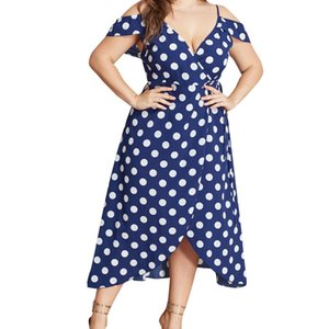 Wholesale JAYCOSIN clothes Dress Women Plus Size Print V Neck Blue polka Dot Ladies Summer Knee Length Vintage cute Dress
