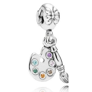 Original 925 Sterling Silver Bead Charm Cute Artists Palette With Crystal Pendant Bead Fit Pandora Bracelet & Necklace Jewelry
