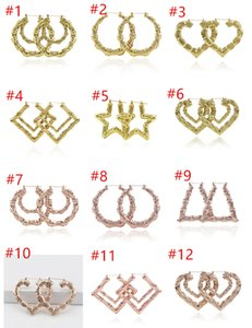 Wholesale 2019 Luxury Jewelry Multiple Shapes Ethnic Large Vintage Gold Plated Bamboo Hoop Earrings for Women free choice DHL Free