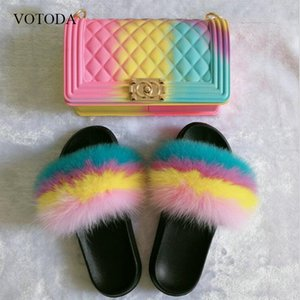 Women Fur slides 100% Real Fox Fur Slippers Rainbow Jelly bags Slides Indoor Fluffy Cute Flip Flops Travel Furry Shoes Set