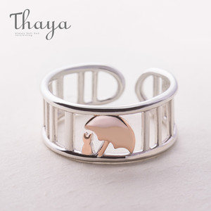 Wholesale Thaya S925 Silver Rose Gold Umbrella Protect Cat Ring Wedding Bands Roman Column Jewelry Animal Style Finger Ring For Women J