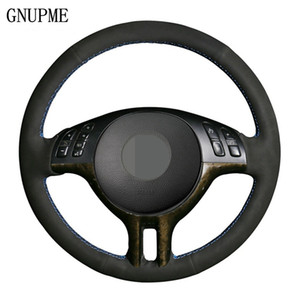Wholesale x5 wheels resale online - Black Soft Suede Leather DIY Hand stitched Car Steering Wheel Cover for E39 E46 X5 i E53