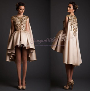 2020 krikor jabotian Formal short Evening Dresses with cape stain prom dresses with lace Embroidery hi-lo gorgeous vestidos de fiesta on Sale
