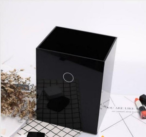 Wholesale 2019 Classic logo black acrylic sundries finishing box flower barrel trash Brand CC desktop Organizer box Storage barrels VIP Gift VIP