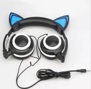 2019 Foldable Flashing Glowing cat ear headphones Gaming Headset with LED light Earphone For PC Laptop Computer Mobile Phone