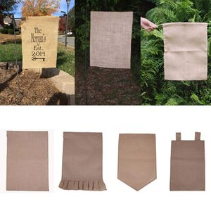 Wholesale 31 cm Burlap Garden Flag DIY Jute Ruffles Linen Yard Hanging Flag House Decoration Portable Banner Styles In Stock Free DHl