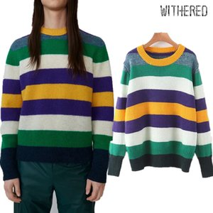 Wholesale Withered winter sweaters women england runway vintage striped wool oversize boyfriend pull femme sweaters women pullovers tops