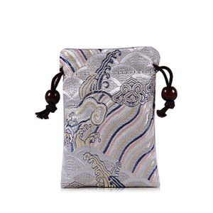 Wholesale Thicken Seawater Mini Silk Brocade Bag Double Velvet Jewelry Pouches Drawstring Watch Travel Pouch Handmade Cloth Bags