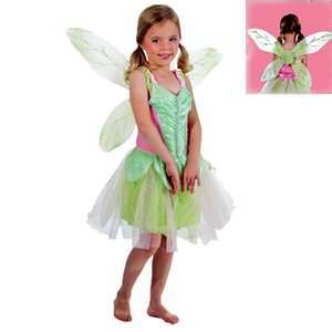 Kids Clothing Girls Green Fairy Cosplay Princess Dress Skirts+Butterfly Wing 2pcs sets Tinker Bell Dress Halloween Role Play Costume M192