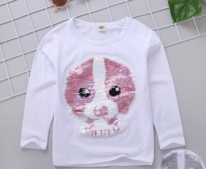 Wholesale 2019 Autumn winter New style children fashion Long sleeve The girl The puppy design sequins style T shirt