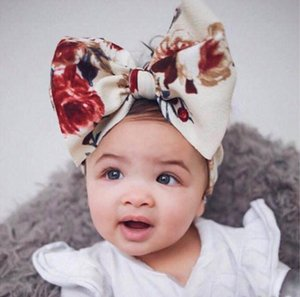 Wholesale 8 color baby hair accessories infant kids big bow tie headbands Flower Headwraps children cute princess hair bands