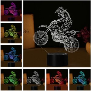 Wholesale 7 Colors Change D Extreme Sport Cross Country Motorcycle Modelling Desk Lamp Led Visual Decor USB Touch Night Light Child Man Birthday Gift