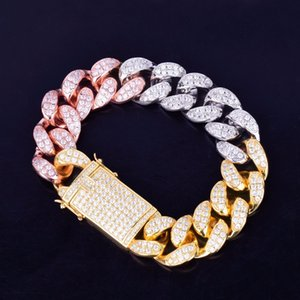 Wholesale 20mm width Chunky Miami Cuban Chain Bracelet Bling Bling Zirconia Men Hip hop Jewelry Gold Silver Rose Big Bangle cm cm