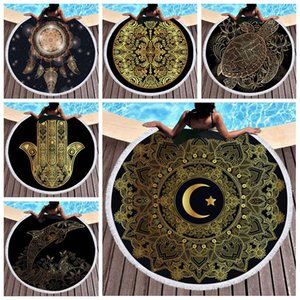 Wholesale Round Beach Towels Turtle Printed Tassel Yoga Towel vintage gold Printed Beach mat Large Microfiber Circle Picnic Carpet Carpets CLS219