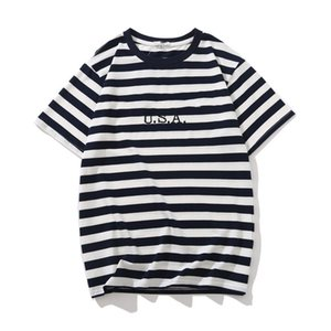 Jeans USA Mens Striped T shirts Summer Fashion Embroidery Designer Tees Short Sleeved Tops Clothes on Sale