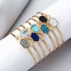 Fashion Woman Turquoise Bracelet Classic Sliver Gold Plated Drusy Faux Stone Bangle Lady Jewelry Party Gift TTA1200
