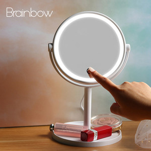 Wholesale Brainbow White Rotate Makeup Mirror Light LED Cosmetic Mirror with Touch Dimmer Switch USB Battery Operated Stand Table